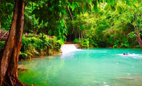 【ルアンパバーン】メコン川クルーズ&クアンシーの滝//ディナーショー付きのチョイスあり