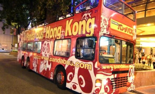 オープントップバス ナイトドライブ 香港の夜景観光<日本語ガイド/女人街で解散可/最前席プランあり>