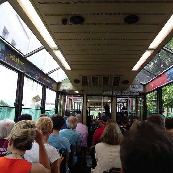 観光イメ―ジ:ピークトラム車内