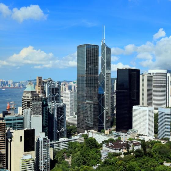 観光イメージ:香港島のビル群