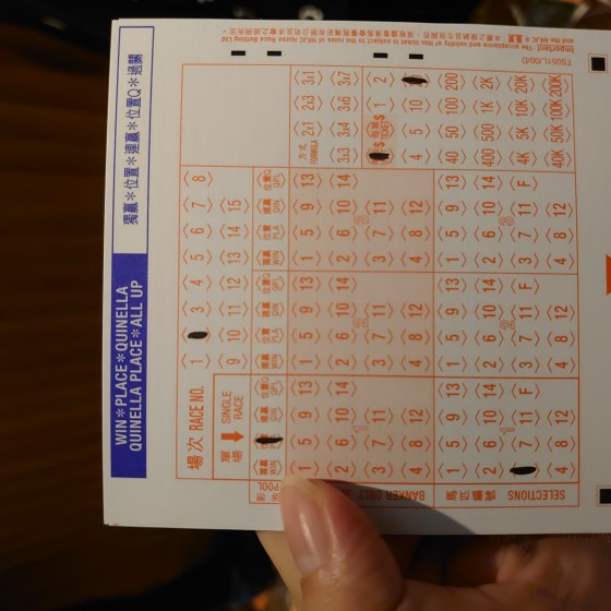 香港 ハッピーバレー競馬場 馬券 イメージ