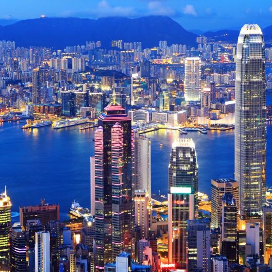 香港 ビクトリアハーバーと100万ドルの夜景 イメージ