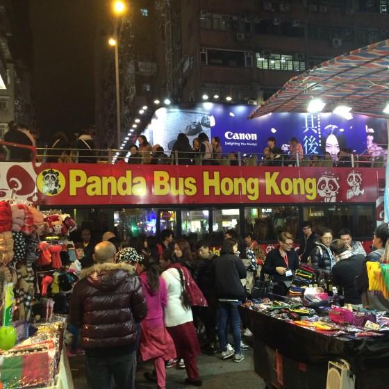 香港 女人街 と パンダバス の オープントップバス