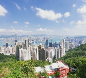 ビクトリアピークにて香港を一望
