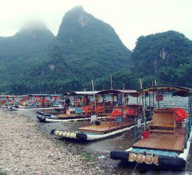 漓江遊覧船の船着き場 到着 漓江下りへ