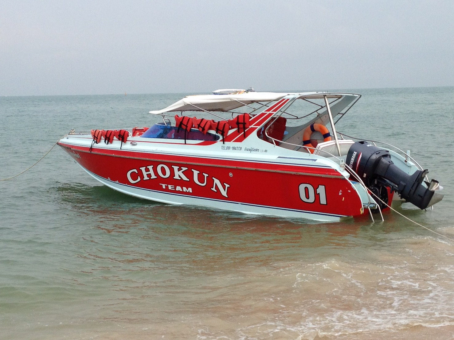 パタヤビーチ到着後、スピードボートに乗ってラン島へ。