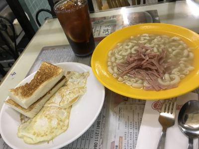 朝食:香港式モーニングセット@瑞士珈琲室