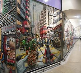 西營盤MTR地下鉄駅内の壁画鑑賞