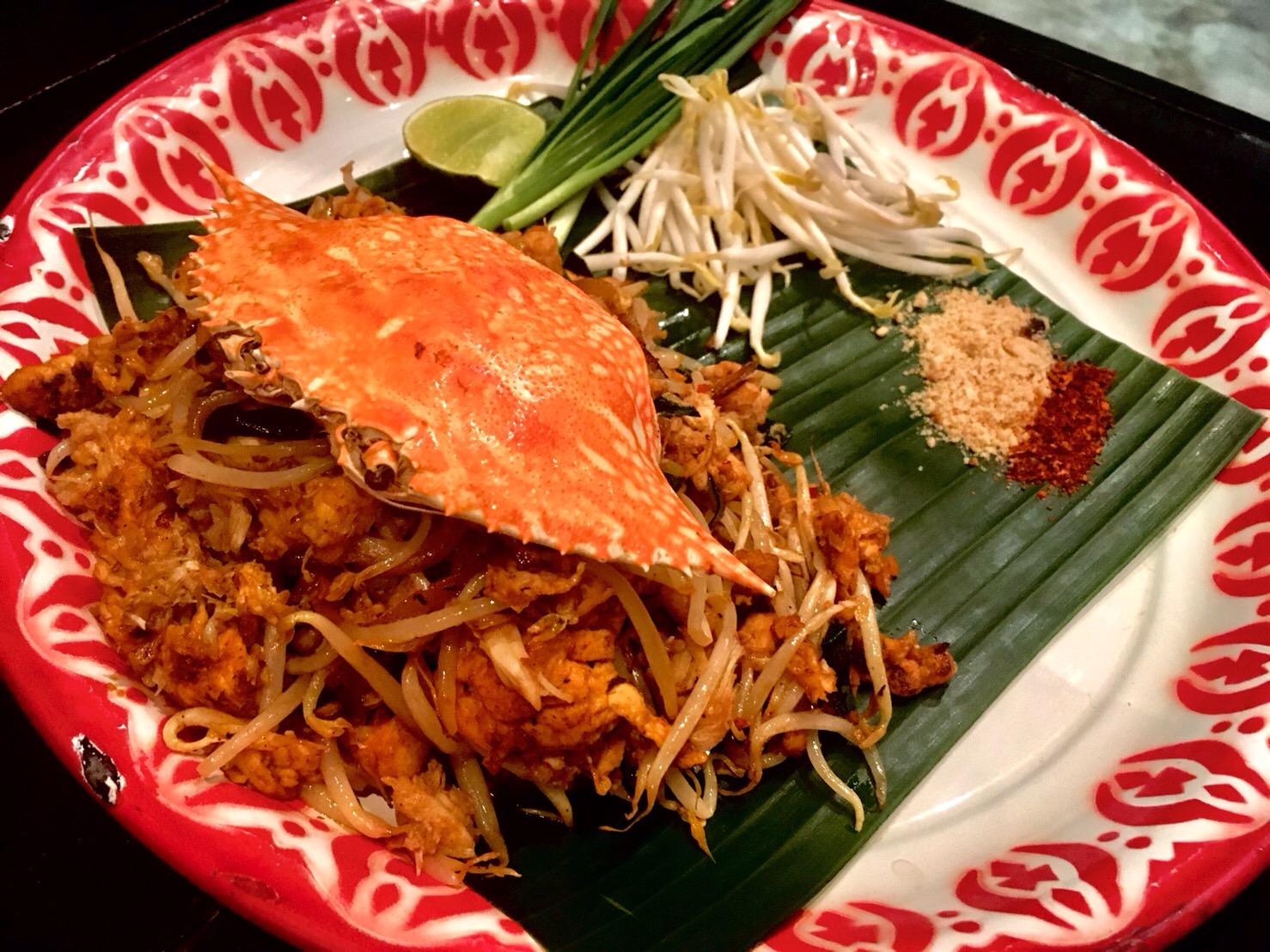 バーンパッタイでパッタイの昼食(蟹、鶏、海老よりチョイス)