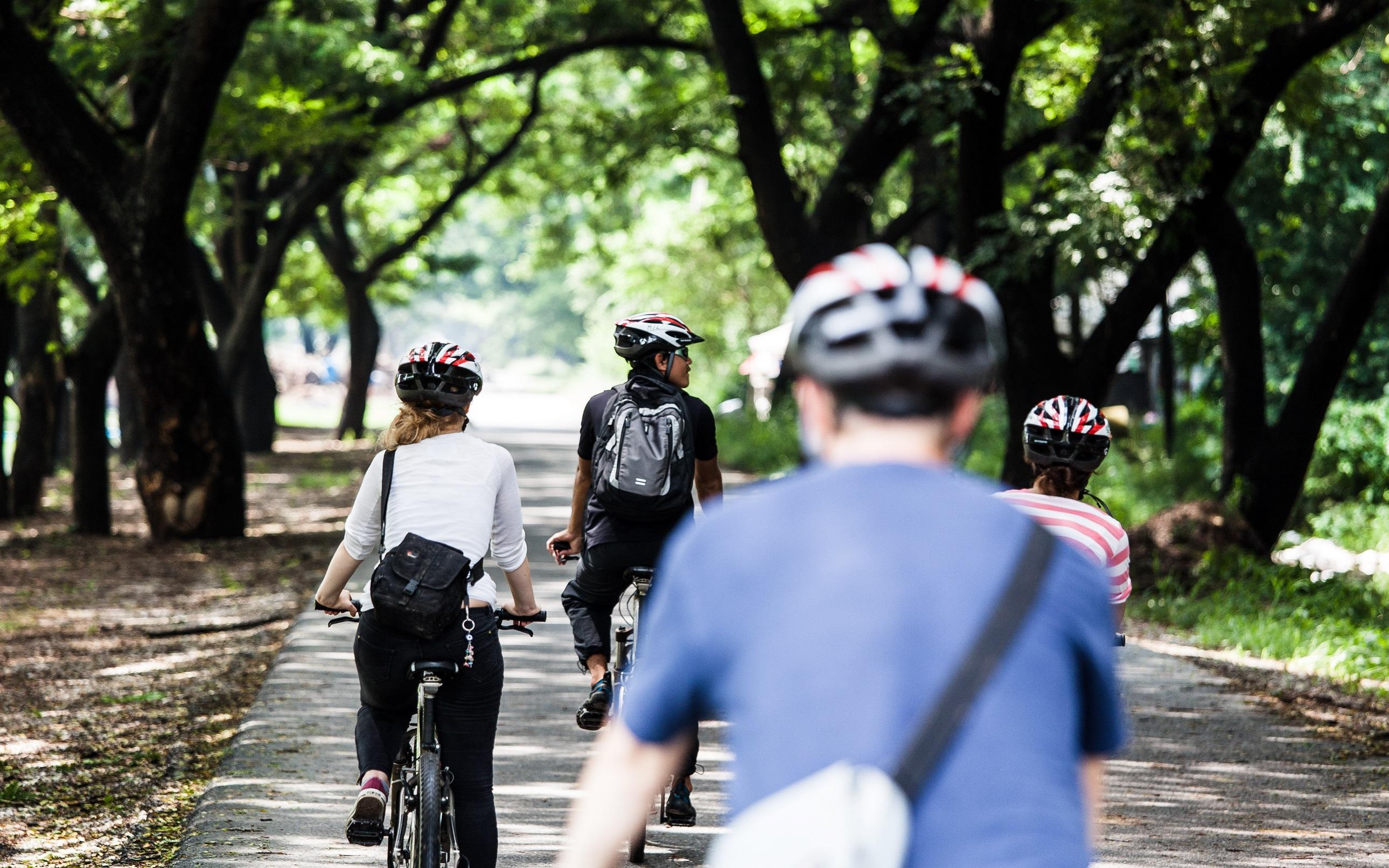 アユタヤ到着後、自転車に乗り換えサイクリングツアー出発