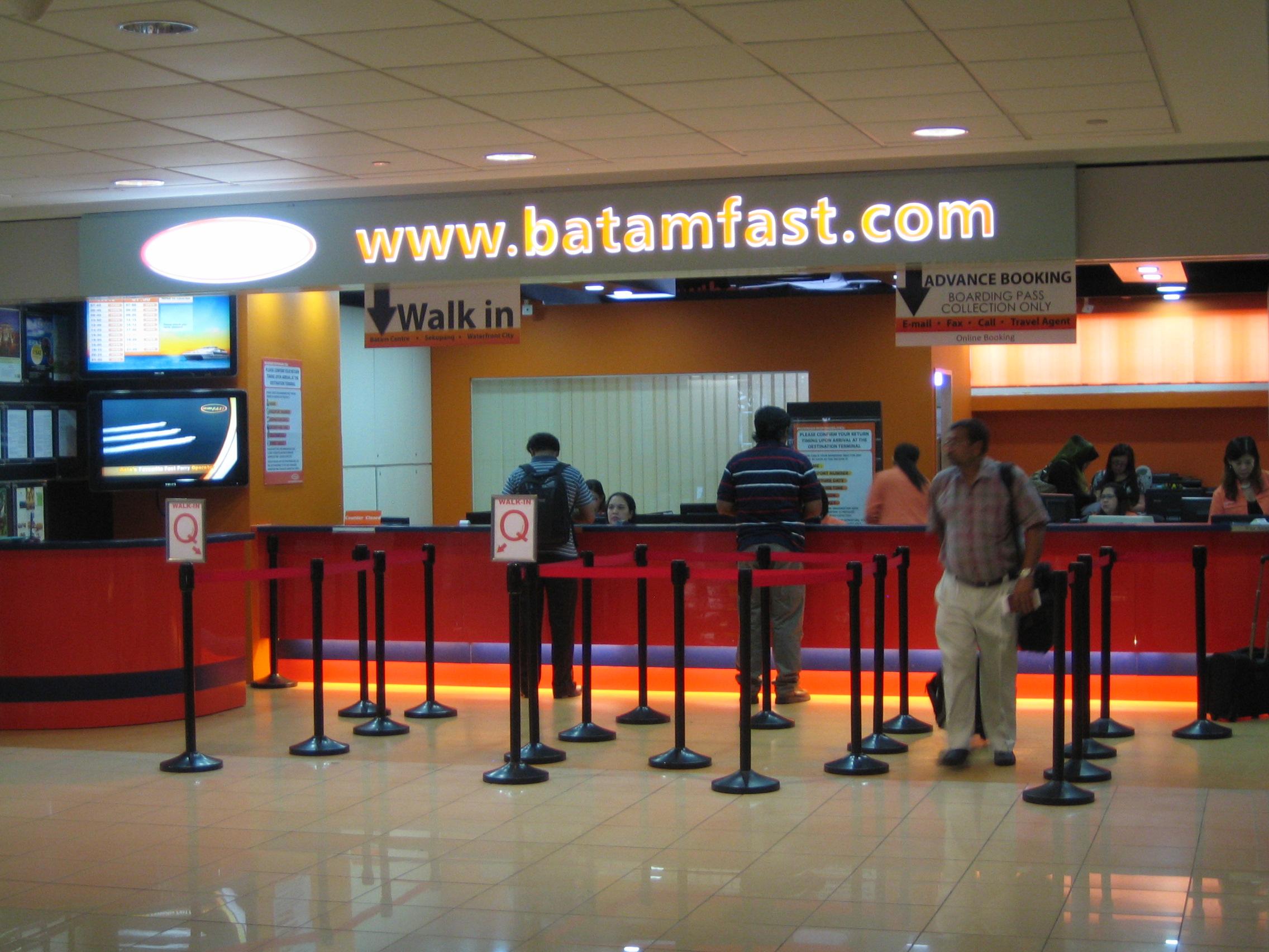 ハーバーフロントセンター2F(#02-50, 1 Maritime Square)出発ターミナルにある「BATAM FAST」にてチェックイン手続き