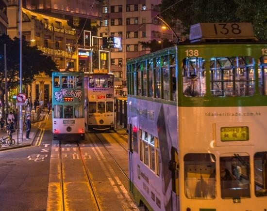 オープントップトラムで駆け巡る香港島<乗車Eチケット>