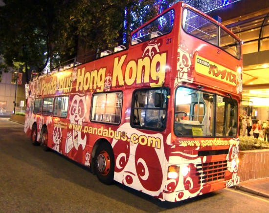 香港 オープントップバス ナイトドライブ 九龍のネオンと夜景の観光<最前席プランあり/女人街で解散可/日本語ガイド>