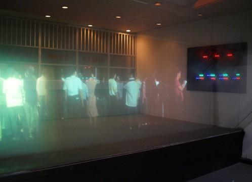 深セン博物館内にて開拓時代の人々の生活を映し出す3D映像