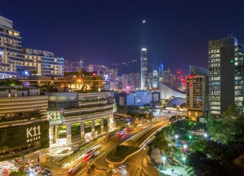 香港 九龍から香港島に臨む夜景