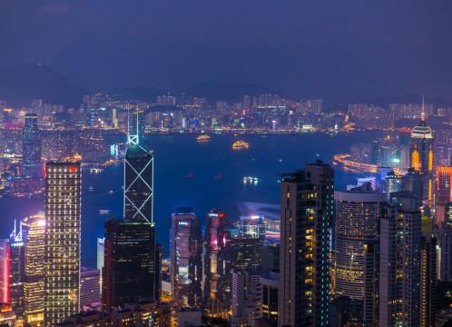 香港 夜のビクトリアハーバー イメージ